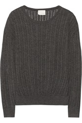 Band Of Outsiders Pointelle Knit Wool Sweater Gray