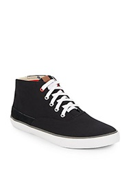 Ben Sherman Suede Trimmed Canvas Sneakers Black