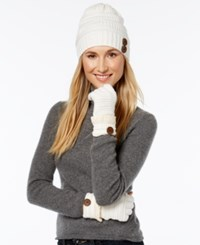 Rampage Slouchy Button Beanie And Gloves Set Only At Macy's Ivory