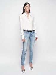 Saint Laurent Stretch Cotton Denim Skinny Jeans Light Blue