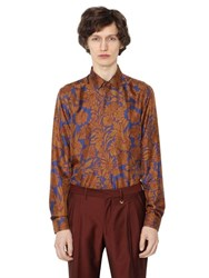 Lords And Fools Floral Printed Silk Twill Shirt