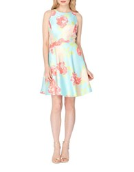Tahari By Arthur S. Levine Floral Jacquard Fit And Flare Dress Blue