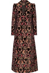 Roberto Cavalli Flocked Jacquard Coat Black