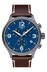 Tissot Men's Chrono Xl Leather Strap Chronograph Watch 45Mm Brown Blue Black