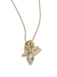 Temple St. Clair Classic Rock Crystal Diamond And 18K Yellow Gold Triple Charm Necklace