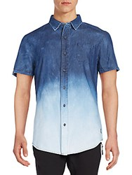 American Stitch Dip Dye Chambray Short Sleeve Shirt Dark Blue