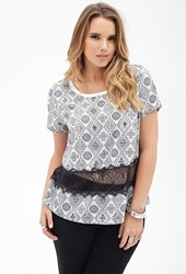 Forever 21 Plus Size Diamond Print Lacy Top Ivory Black