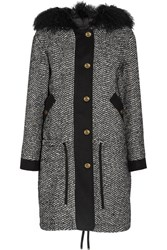 Moncler Lara Shearling Trimmed Tweed Down Coat Black