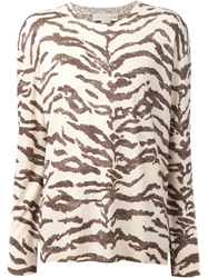 Stella Mccartney Tiger Print Sweater Nude And Neutrals