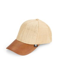 Block Woven Faux Leather Cap Natural