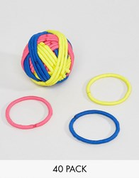 Asos Pack Of 40 Neon Hair Bands Multi