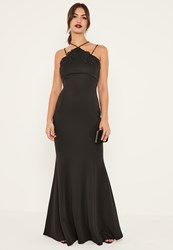 Missguided Black Applique Lace Strappy Fishtail Maxi Dress