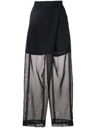 Toga Sheer Straight Leg Trousers Blue