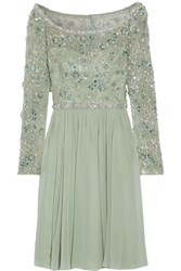 Jenny Packham Embellished Tulle And Silk Georgette Dress Mint