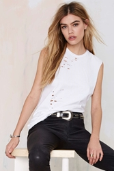 Nasty Gal After Party Vintage Tumble Muscle Tee White