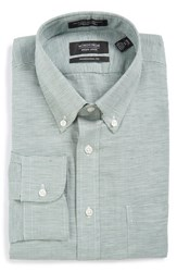 Nordstrom Men's Big And Tall Men's Shop Traditional Fit Houndstooth Linen And Cotton Dress Shirt Green Myrtle