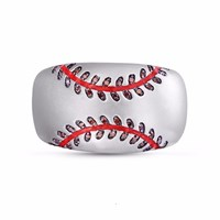 Lmj Home Run Baseball Band Ring Red Silver
