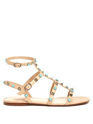 Valentino Rockstud Rolling Leather Flat Sandals Nude