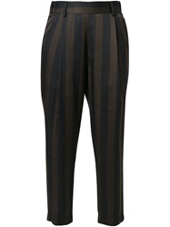 Erika Cavallini Semi Couture Cropped Striped Trousers Black