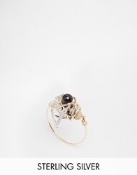 Katandbee Kat And Bee Wrapped Skull Ring With Black Spinal Semi Precious Stone 14Ctgold925ster