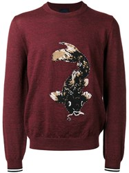Lanvin Intarsia Koi Fish Jumper Red