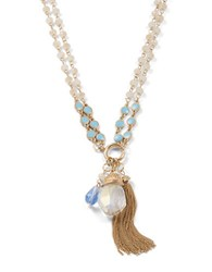 Design Lab Lord And Taylor Beaded Fringed Crystal Pendant Necklace Blue