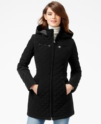 Laundry By Design Petite Faux Fur Lined Quilted Velour Coat Black