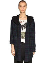Faith Connexion Oversize Hooded Check Wool Tweed Shirt Green Navy