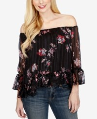 Lucky Brand Printed Off The Shoulder Top Purple Multi