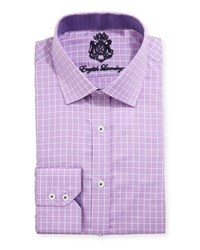 English Laundry Windowpane Check Cotton Dress Shirt Purple