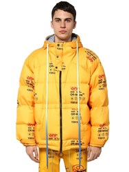 Off White Printed Techno Puffer Jacket W Hood Yellow