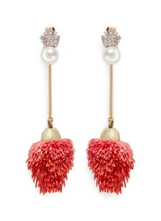 Venna Detachable Pearl Stud Pompom Drop Earrings Red