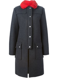 Marc By Marc Jacobs Contrasting Collar Coat Grey