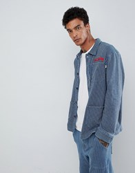 Fairplay Striped Worker Jacket With Chest Embroidery In Blue Stripe