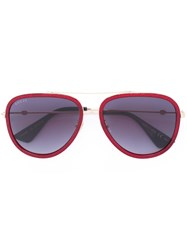 Gucci Eyewear Aviator Metal Temple Sunglasses Red