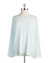 Dkny Jeans Women Plus Eyelet Lace Tee Mint