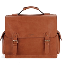 Aspinal Of London Shadow Calf Leather Briefcase Tan