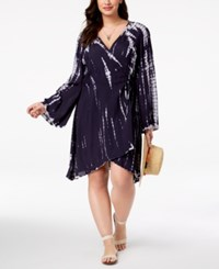 f281c7357c Raviya Plus Size Printed Wrap Dress Cover Up Swimsuit Navy