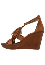 Bronx Banner Wedge Sandals Mid Brown Gold Cognac