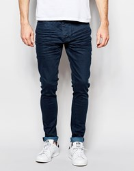 Brave Soul Skinny Jeans With Raw Hem Blue