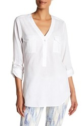 Nydj Outback Pop Over Shirt White
