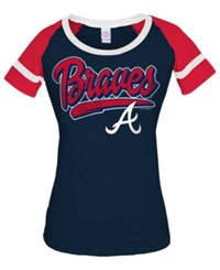 5Th And Ocean Women's Atlanta Braves Homerun T Shirt Navy