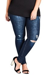 City Chic Plus Size Women's Simple Ripped Skinny Jeans Dark Denim