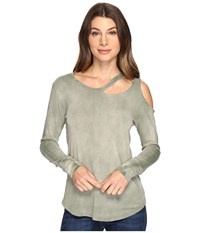 Lna Long Sleeve Slash Tee Military Green Potassium Women's T Shirt