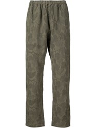 White Mountaineering Floral Camouflage Trousers Green