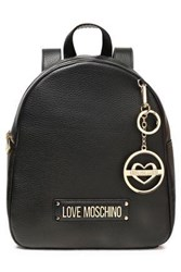 Love Moschino Woman Logo Embellished Textured Leather Backpack Black