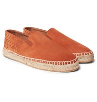 Bottega Veneta Intrecciato Suede Espadrilles Orange