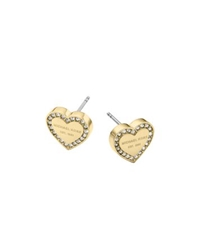 Michael Kors Pave Gold Tone Heart Charm Earrings