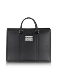 Pineider Nuova Pow Double Handles Leather Briefcase Black