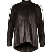River Island Womens Black Long Sleeve Plisse Cold Shoulder Blouse
